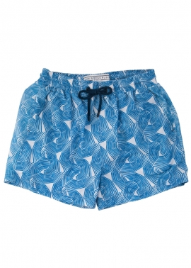 Balmoral Boys Umbrellas Blue Board Shorts - Flat Front- The Rocks Push