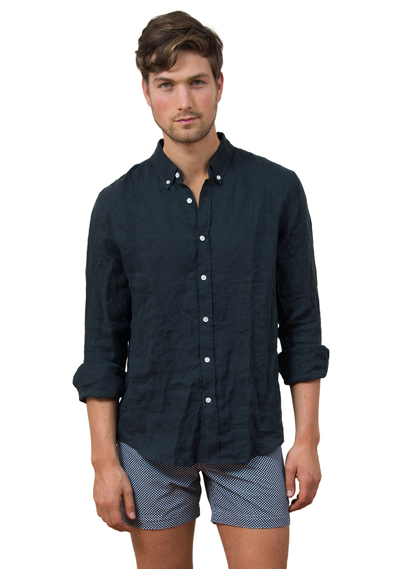 mens linen shirt navy soft collar