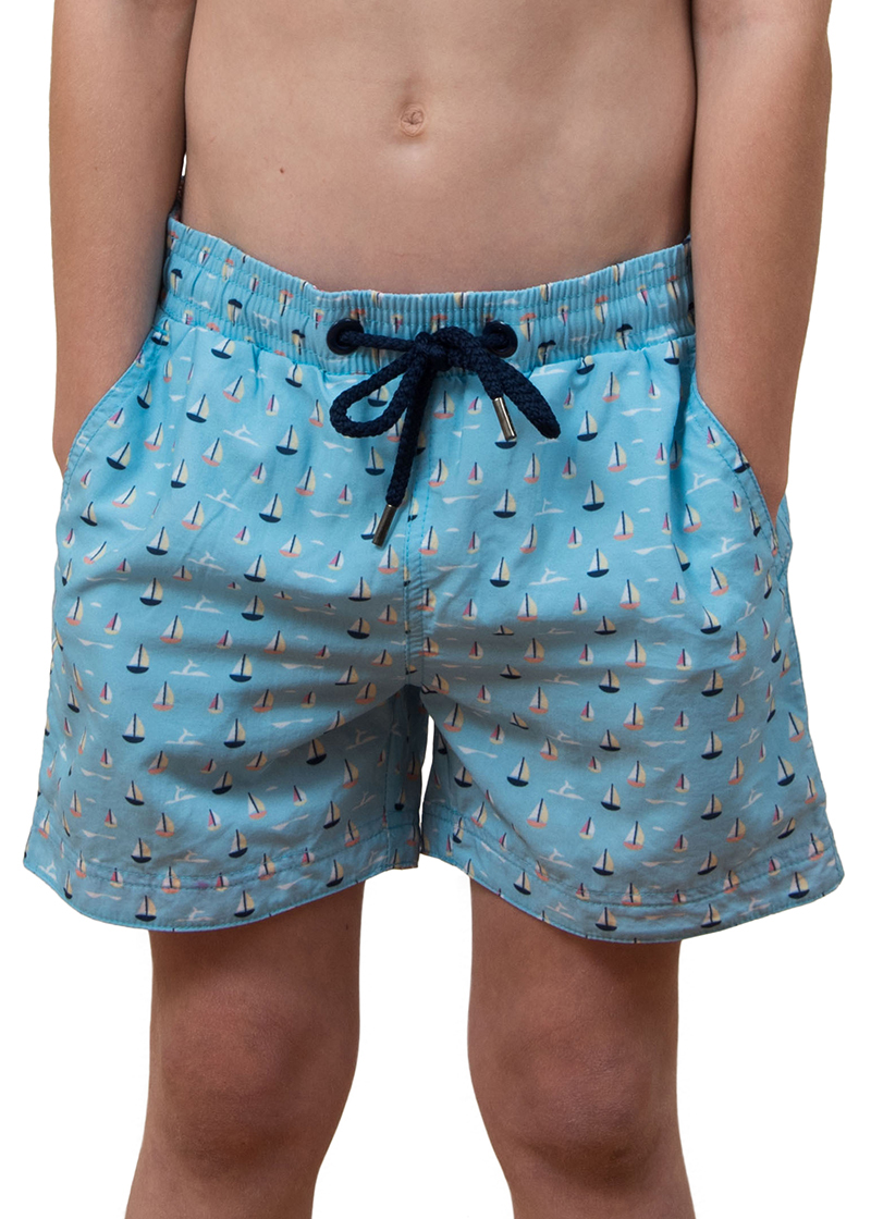 55e3a0fe5f Balmoral Deco Blue Boys Board Shorts - The Rocks Push
